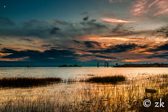 Nature's Canvas ( ) Tags: sunset sun sky clouds water sea beach ocean blue summer sand light green landscape moon seascape goldenhour tugboat boat vessel