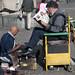 Un vecchio lavoro molto diffuso in Santiago, il lustrascarpe