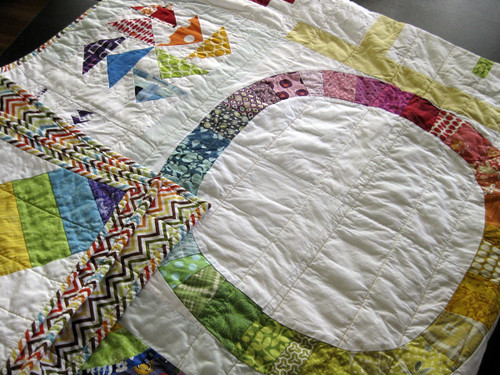 "with ""organic"" straight line quilting"