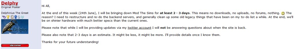 Mod the Sims to go down.