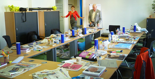 Emily and Tony Buzan surveying the aftermath of the Speed Reading TLI