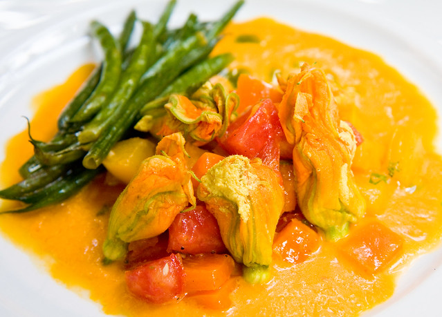 Squash blossoms and cheese, Pure Food and Wine