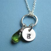 Peridot and Initial Necklace