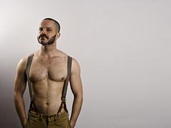 Brian (brighteyesboy) Tags: man male pecs fur beard braces chest chops brighteyesboy