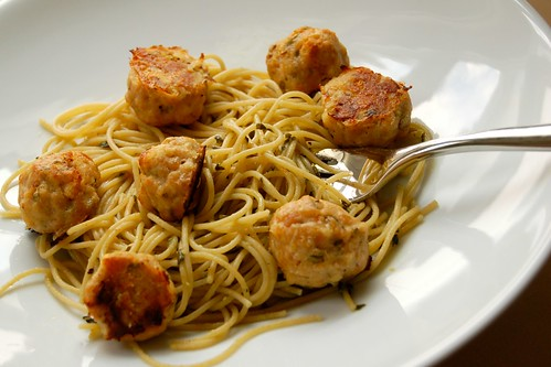 chicken meatballs, sorrel pesto spaghetti