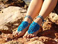 Crochet Turquoise Barefoot Sandals (Vikulyа) Tags: blue sea summer vacation sexy beach pool yoga fetish nude foot women shoes lace sandals turquoise leg crochet victorian jewelry wear tango lolita barefoot bellydance accessories wrist weddings warmers anklet steampunk