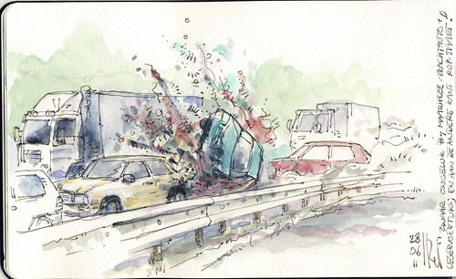 Deadly road accident   Urban Sketchers