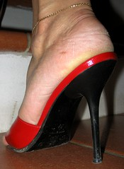 Sara goes upstairs (al_garcia) Tags: high shoes toes sandals hard sweaty heels soles toering smelly mule toenails calloused carcked