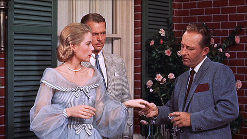 high society grace kelly vintage 50s blue dress chiffon sleeves stripes