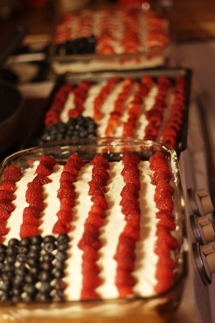 THREE Berry/Flag cakes