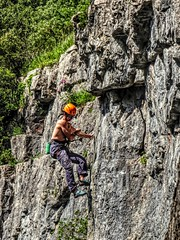 Put the kettle on, I'll be down in a minute (Jon_Wales) Tags: rock somerset climbing gorge abseiling cheddar