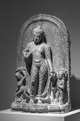 Buddhist Sculpture (K.G.Hawes) Tags: chazenmuseumofart art history historic historical india indian sculpture statuary statue statues relief stone carved carving religious religion black white bw monochrome monochromatic buddha buddhist buddhism