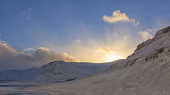 Good Morning Sunshine (lunaryuna) Tags: iceland southwesticeland medalfells medalfellsvatn landscape lake mountains sky clouds sun risingsun winter season seasonalwonders winterdawn wintersunrise snow ice crispcold lightmood frozenlake lunaryuna