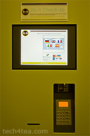 Self-service on-the-spot room booking and checking-in kiosk at the entrance of the hotel.