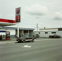 Car Wash (steven-brooks) Tags: usa ford 6x6 america truck mediumformat square washington fuji cloudy overcast pickup sequim gasstation carwash bronica american pacificnorthwest americana trucks roadside union76 400h stevenbrooks americanny