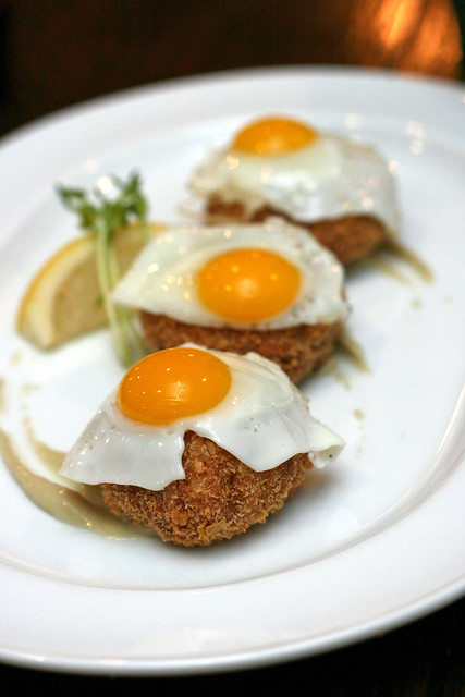 Crab Cakes, Quail Eggs, Anchovy Cream