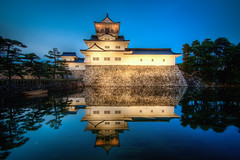 Toyama Castle (arcreyes [-ratamahatta-]) Tags: trees reflection water japan perfect scenic symmetric bluehour toyama moat underconstruction hdr 3xp toyamacastle agustinrafaelreyes