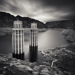 Two Towers (~ superboo ~ [busy busy]) Tags: longexposure sky lake motion sepia dam nevada towers hoover mead toned cooling