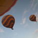 Two hot air balloons in flight over Cappadocia, Turkey