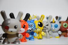 Animal Dunnys (ENC7) Tags: blue orange rabbit yellow toy grey la vinyl kidrobot owl ape endangered cyborg mad unicorn fatale 2009 walrus kozik 2tone dunny 2010 squink 2011 visell zebracorn chuckboy ledbeter