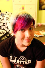 Rainbow hair. (Kyra Elizabeth) Tags: portrait selfportrait hairdye face self hair rainbow eyes colorful candy short shorthair skittles madhatter rainbowhair cottoncandyhair colorfulhair skittlescandy