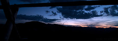 crescent moon over the Continental Divide (FSHMNKY) Tags: sunset cloud moon mountain fence colorado dusk pano panoramic rockymountainnationalpark continentaldivide