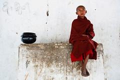 Young Monk - Nyaung U, Myanmar (Maciej Dakowicz) Tags: city sea portrait pagoda asia southeastasia burma monk buddhism myanmar bagan novice nyaungu almbowl