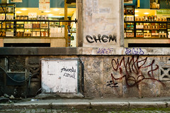 (Brnzei) Tags: street windows graffiti decay m42 junkyard murky manualfocus goldenhour streetlighting  tomioka cavemanart bucureti canoneos400d autoyashinondx50mmf14 privetecerul