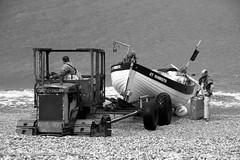 IMG_86433bw (Ian-GreenPhotography.com) Tags: sea blackandwhite bw tractor beach work fishing fishermen norfolk working pebbles pebble bb weybourne northnorfolk weybournebeach
