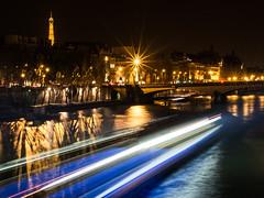 Paris at night (gadsbar) Tags: longexposure bridge trees shadow paris france reflection water night river lights boat eiffeltower olympus eiffel toureiffel 45mm omd