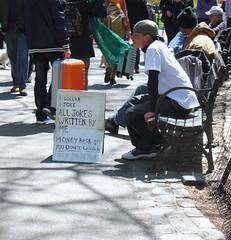 Free if you're broke. (eosmay) Tags: park street newyork square centralpark harlem manhattan streetlife jokes tips write broke newyorkcentralpark