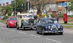 1964 Daimler, followed by 1936 Rolls Royce, Heath Road, Ipswich, 4th. May 2014. (Crewcastrian) Tags: transport rollsroyce ipswich daimler 2014 heathroad historiccars ipswichtofelixstowehistoricvehicleroadrun