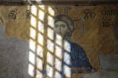 Christ, Deësis mosaic in sunlight, Hagia Sophia