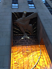 (Shane Henderson) Tags: nyc newyorkcity windows sculpture newyork glass architecture gold manhattan decorative rockefellercenter zeus crown artdeco blocks ornate ornamental 30rock rockefellerplaza gebuilding midtownmanhattan wisdomandknowledgeshallbethestabilityofthytimes
