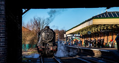 Simmering (Peter Leigh50) Tags: 48624 big 8 8f loughborough great central railway gcr gala winter station steam platform