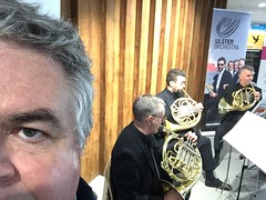 Selfie with Members of Ulster Orchestra at Royal Victoria Hospital, Belfast #ulsterorchestra50 (John D McDonald) Tags: selfie self royalvictoriahospital belfastroyalvictoriahospital royalvictoriahospitalbelfast rvh horns hornquartet frenchhorns horn frenchhorn belfast northernireland ni ulster geotagged ulsterorchestra uo ulsterorchestra50 musicians music professionalmusicians iphone iphone6