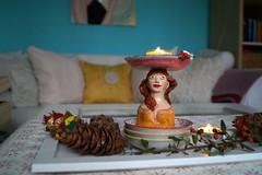 Teelichtbstenhalter (krewerkerstin) Tags: kerze kerzenhalter clay modellieren gesicht bste malen malerei kunst handgefertigt handmade