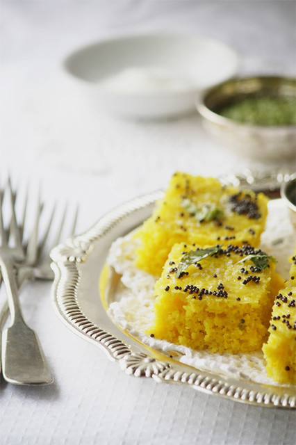 9 CookRepublic-Steamed Indian Savory Lentil Cake, Bars Dhokla