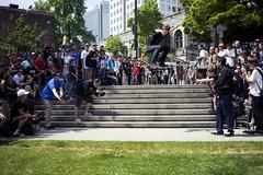 Ollie To Grass (KeatenSaba) Tags: wildinthestreets nikon2870mm 5dmkii nikontocanonadapter skateboardingvancouver keatensaba goskateboardingdayvancouver2011 mk25dskateboarding