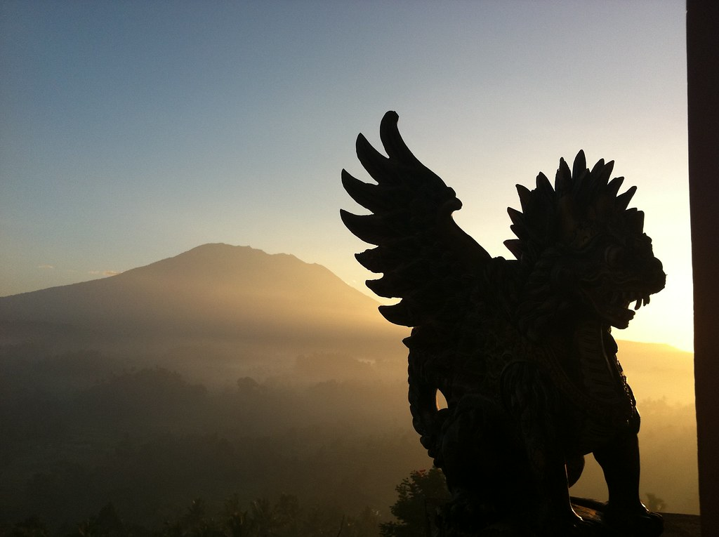 Veranda statue at dawn, Sideman, Bali