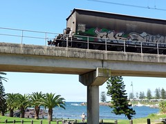scrappy tail end (sth475) Tags: railroad bridge blue autumn sea sky water car train wagon harbour wheat rear grain railway australia goods covered nsw flour fc kiama hopper freight pn endoftrain illawarra rollingstock eot freightcar southcoastline ngyfclass ngyf40830u kiamabasin