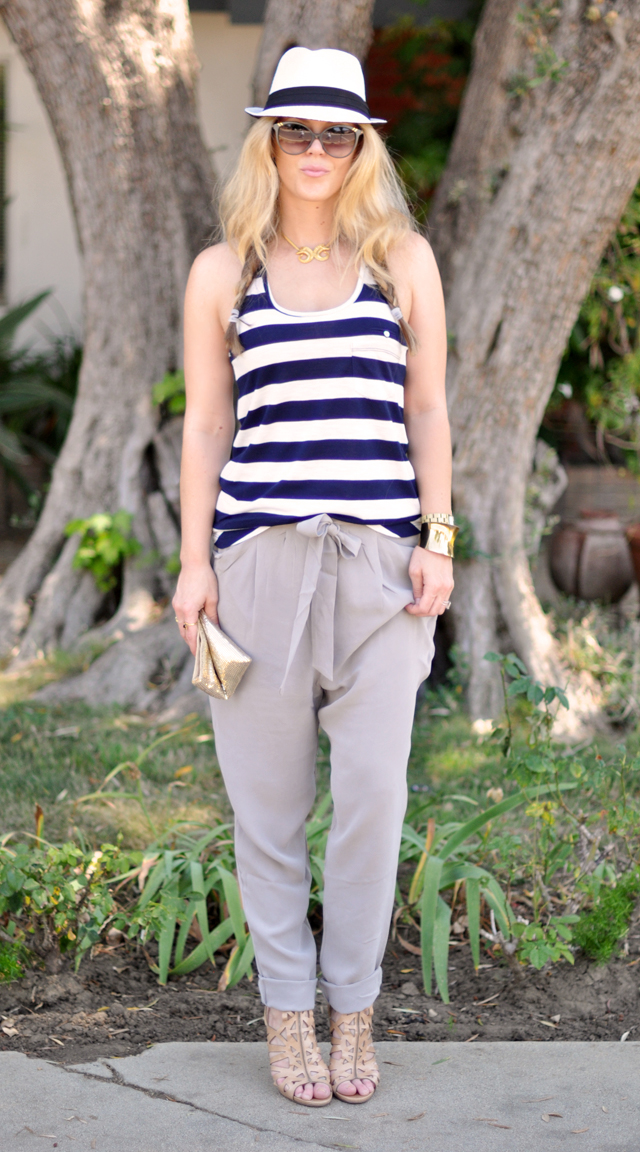 striped tank  + hat +  silk pants + gold accessories
