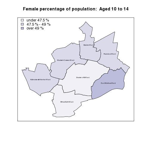 Female percentage of population:  Aged 10 to 14