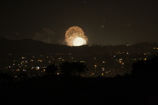 fireworks from the rose bowl