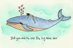 You me and the big, blue sea (Maddie Joyce) Tags: ocean blue sea fish cute art love girl illustration pen hearts freedom maddie peace underwater turquoise magic adventure riding joyce watercolour whale mermaid