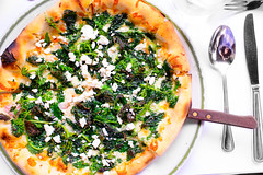 Pizza with wild nettles an ricotta salata ($18.50) (ALifeWorthEating) Tags: california vegetables garden berkeley market farm seasonal fresh farmtotable alicewaters califorinacuisine