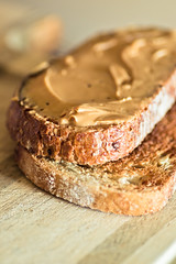 Peanut butter on 7 grain toast a.k.a My Favorite Snack! (sueling.curtis) Tags: food brown breakfast bread lunch healthy nikon dof florida toast tasty delicious butter snack peanut carbs treat tamron skippy peanutbutter publix protein lightroom tamron90mm starch carvingboard wholegrain multigrain nikond3100