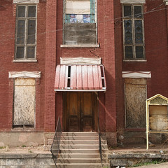 never on sunday (simple pleasure) Tags: brick abandoned church awning shadows crack westvirginia railing wheeling dogwalk