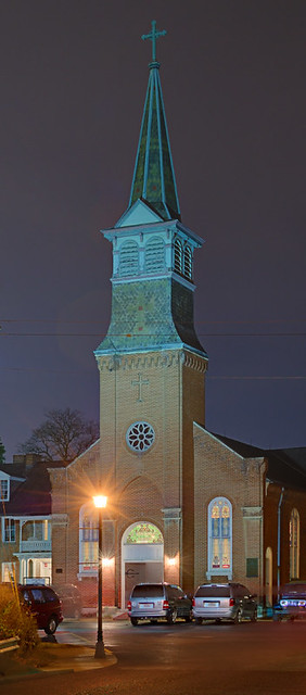 Old Saint Ferdinand Shrine, in Florissant, Missouri, USA - exterior at night