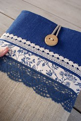 ... (SandraStJu) Tags: blue bag handmade linen laptop crochet case cover clutch sleeve purses sewn padded